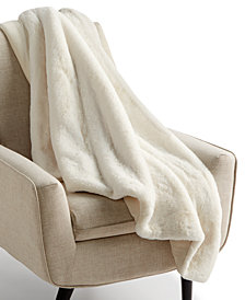 "Martha Stewart Collection Faux-Fur Reversible 50"" x 60"" Throw, Created for Macy's"