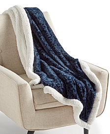 "Martha Stewart Collection Textured Medallion Reversible 50"" x 60"" Classic Sherpa Throw, Created for Macy's"