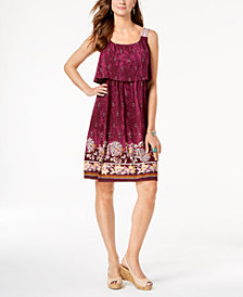 Style & Co Petite Printed Flounce Dress, Created for Macy's