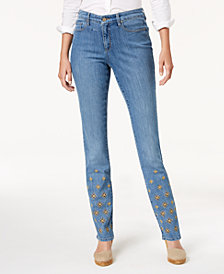 Charter Club Petite Emma Embroidered Jeans, Created for Macy's