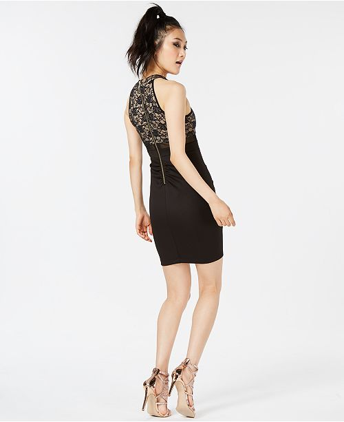 4dbc2bf95 Emerald Sundae Juniors' Lace Illusion Bodycon Dress & Reviews ...