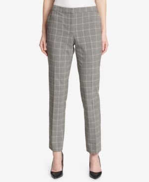 Plaid Slim-Leg Princeton Pants, Powder Multi