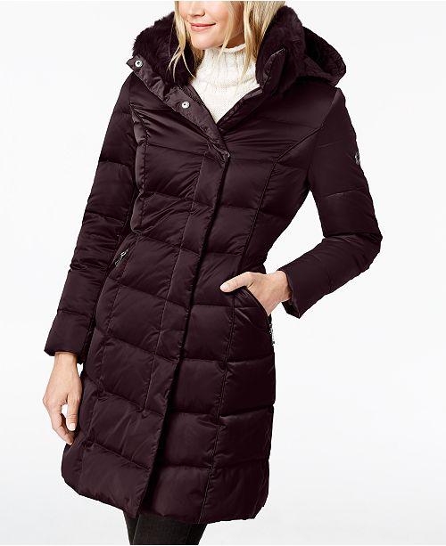 b2ff832736 T Tahari Hooded Faux-Fur-Trim Puffer Coat & Reviews - Coats - Women ...