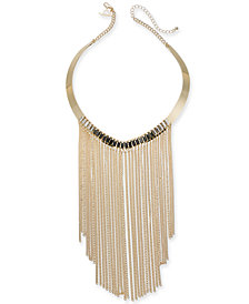 "Thalia Sodi Gold-Tone Crystal & Chain Fringe Statement Necklace, 5-1/2"" + 3"" extender, Created for Macy's"