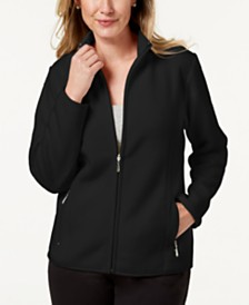 Karen Scott Zip-Up Zeroproof Fleece Jacket, Created for Macy's