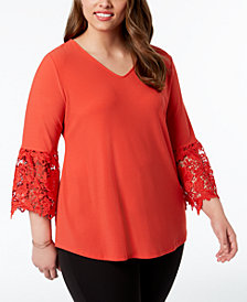 Alfani Plus Size Lace-Trim T-Shirt, Created for Macy's
