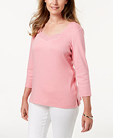 Karen Scott Cotton Studded Top, Created for Macy's