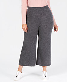 Charter Club Plus Size Pure Cashmere Knit Culotte Pants, Created for Macy's