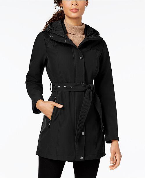 Michael Kors Belted Quilt-Patch Raincoat