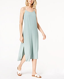 Eileen Fisher Tencel® Crepe Side-Slit Slip Dress, Regular & Petite