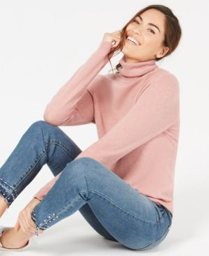 Charter Club Pure Cashmere Turtleneck Sweater in Regular & Petite Sizes, Created for Macy's - Bella Rose