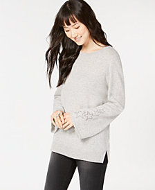 Charter Club Pure Cashmere Bell-Sleeve Sweater, Created for Macy's