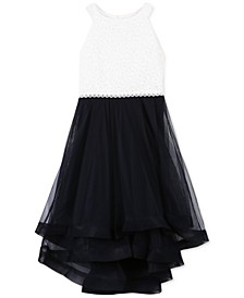 Big Girls Plus-Size Glitter Lace Fit & Flare Dress