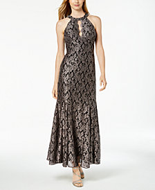 Nightway Glitter-Lace Keyhole Gown, Regular & Petite Sizes