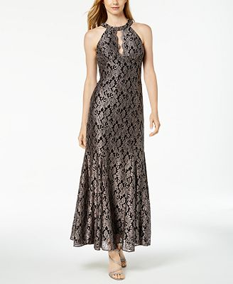 Nightway Lace Gown Black Glitter Taupe Keyhole Wr70wszq For