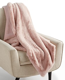 Martha Stewart Collection Solid Faux Fur Throw, Created for Macy's