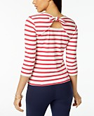 Maison Jules Cotton Striped Bow-Embellished Top Created for Macys