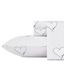 ED Ellen Degeneres Love Hearts Navy Queen Sheet Set