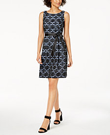 Robbie Bee Petite Belted Lace A-Line Dress
