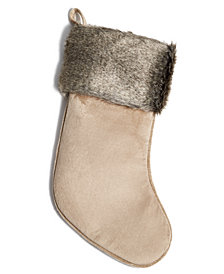 Holiday Lane Brown Cuff Stocking, Created for Macy's