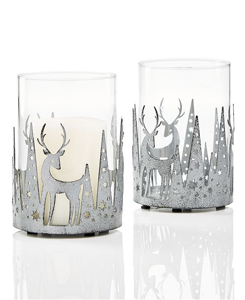 Holiday Lane Deer Textured Silver Iron & Glass Candle Holder, Created for Macy's