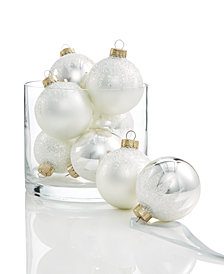 Holiday Lane Glass Icy White & Silver Ball Ornaments, Set of 8, Created for Macy's