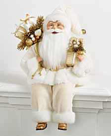 Holiday Lane Ivory & Gold Sitting Santa Holding Presents, Created for Macy's