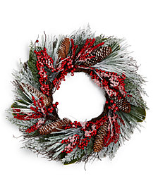 Martha Stewart Collection Pine & Berries Christmas Wreath, Created for Macy's
