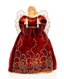 Holiday Lane American Burgundy/Gold Tone Angel Tree Topper, Created for Macy's