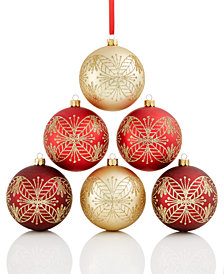 Holiday Lane Shatterproof Red/Gold/Burgundy Leaf Balls, Set of 6, Created for Macy's