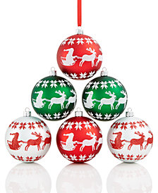 Holiday Lane 6-Pc. Fair Isle Patterned Shatterproof Ball Ornament Set, Created for Macy's