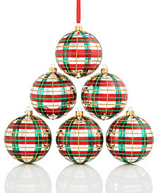 Holiday Lane Shatterproof Plaid Ball Ornaments, Set of 6, Created for Macy's