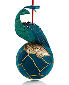 Holiday Lane Blue Feather Peacock with Gold Glitter Ball Ornament, Created for Macy's