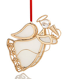 Holiday Lane Pearl/Gold-Tone Metal Angel Ornament, Created for Macy's