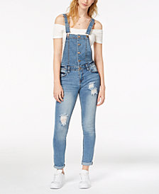 Tinseltown Juniors' Ripped Denim Overalls