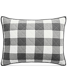 Martha Stewart Collection Box Plaid Reversible Yarn-Dyed Quilted Standard Sham, Created for Macy's