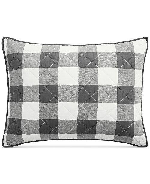 77fd446cae957 ... Martha Stewart Collection Box Plaid Reversible Yarn-Dyed Quilted King  Sham