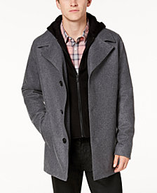 GUESS Men's Hooded Wool Coat
