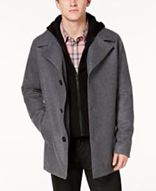 GUESS Men's Hooded Wool Coat