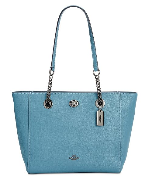 db5f590ff ... COACH Turnlock Chain Tote 27 in Polished Pebble Leather ...