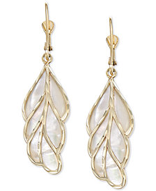 Mother-of-Pearl Leaf Drop Earrings in 14k Gold