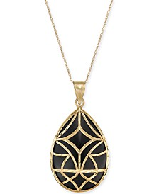 "Onyx Teardrop Filigree 18"" Pendant Necklace in 14k Gold"