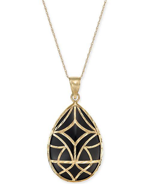 """Macy's Onyx Teardrop Filigree 18"""" Pendant Necklace in 14k Gold"""