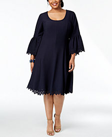 Robbie Bee Plus Size Laser-Cut A-Line Dress