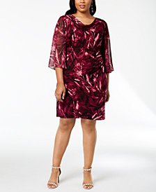 Connected Plus Size Floral Angel-Sleeve Dress