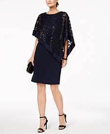Sequined Lace Poncho Dress