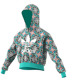 adidas Originals Big Girls Cropped Zoo-Print Hoodie