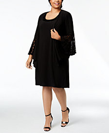 R & M Richards Plus Size Lace-Trim Dress and Jacket