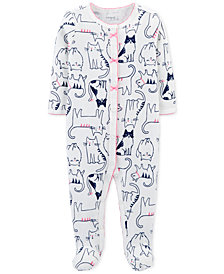 Carter's Baby Girls Cat-Print Thermal Footed Cotton Coverall