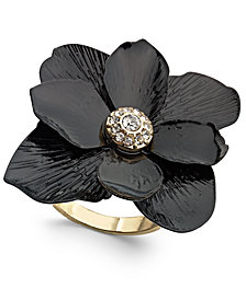 Thalia Sodi Gold-Tone Crystal Flower Statement Ring, Created for Macy's